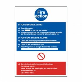 FAS SIGN Fire Action Sign Photoluminescent Rigid Plastic